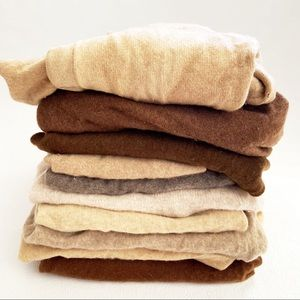 Lot of 10 TAN BROWN Cashmere Sweater Craft fabric